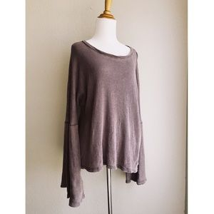 3/$20 Plum Distressed Bell Sleeve Thin Thermal Top